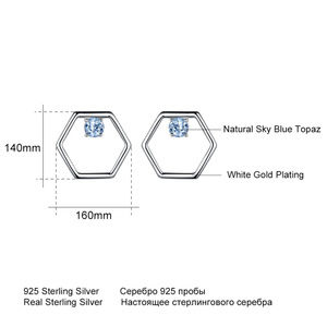 Penfine Jewelry - Natural Sky Blue Topaz Gemstone Silver Earrings